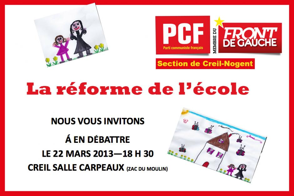 22 mars, Creil - Débat public sur la réforme de l'école